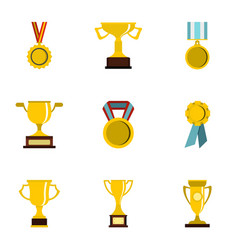 trophy medals and award icons set flat style vector image