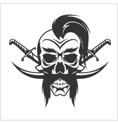 Ukrainian emblem - Cossack skull and crosses vector