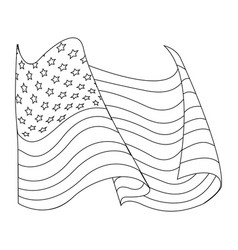 united states of america flag waving symbol line vector image
