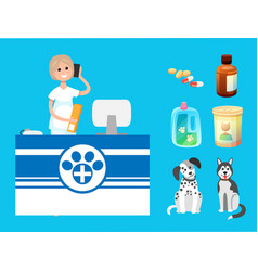 Veterinary clinic reception woman with cell phone vector