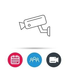 Video monitoring icon Camera cctv sign vector image