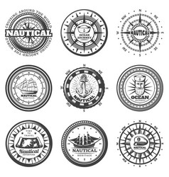 vintage monochrome round nautical labels set vector image
