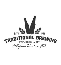 Vintage traditional brewing monochrome logo vector