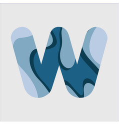 W water font template design vector