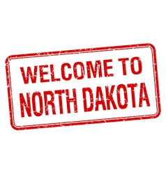 Welcome to North Dakota red grunge square stamp vector