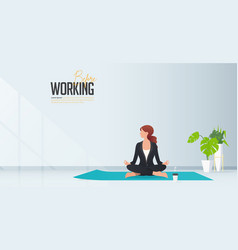 Woman sitting at their home or room and do yoga vector