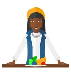 Woman with healthy food vector image