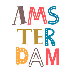 Word amsterdam flat on white vector