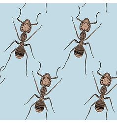 Zentangle stylized Brown Ant seamless pattern Hand vector image