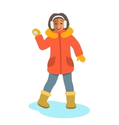African girl in winter clothes throwing snowball vector image vector image