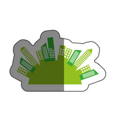 green cityscape buildings isolated icon vector image vector image