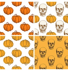 Patterns with pumpkin and skull vector image vector image