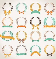 Vintage set of laurel wreaths vector image