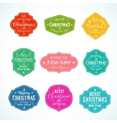 Vintage Typography Bright Color Cute Christmas vector image