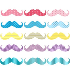 Colorful mustaches pattern collections vector