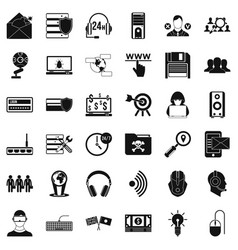 cyber crime icons set simple style vector image vector image