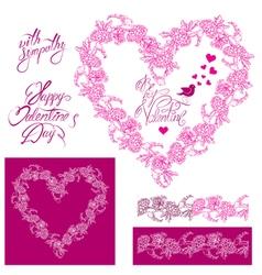 Flower frame heart 2 380 vector