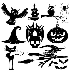 Halloween black signs vector image