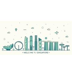 Skyline Singapore linear style vector image