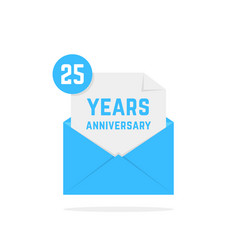 25 years anniversary icon in blue letter vector image vector image