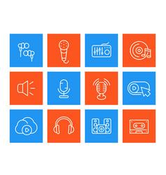 audio line icons set sound recording microphones vector image vector image
