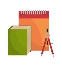 big book notebook and compass tool school design vector image