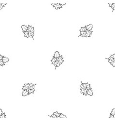 leaves pattern seamless black vector image vector image