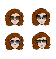 set of different types of sunglasses presenting by vector image vector image
