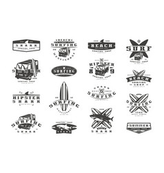set of surfing emblems graphic design for t-shirt vector image