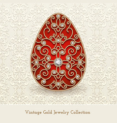 vintage jewelry gold easter egg vector image vector image