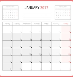 Calendar Planner for January 2017 vector image vector image