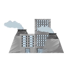 plant nuclear and factory building vector image