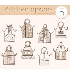 set of kitchen aprons 5 vector image vector image