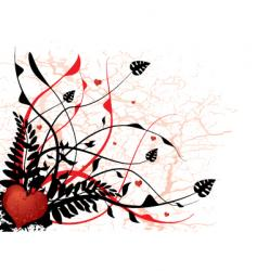 silhouette love floral vector image