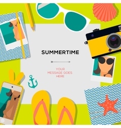 Summertime travel template with traveling vector image