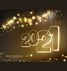 2021 christmas garland with light lamp and stars vector image
