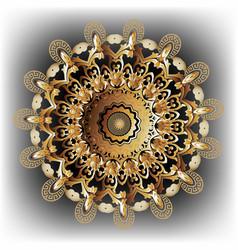 3d baroque round mandala pattern ornamental vector image