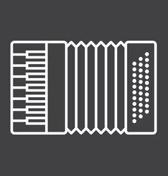 accordion line icon music and instrument vector image