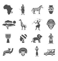 Africa Black White Icons Set vector
