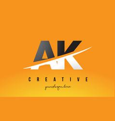 Ak a k letter modern logo design with yellow vector