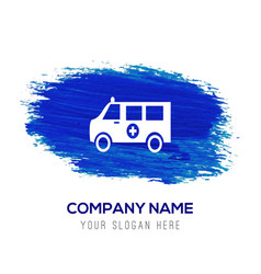 Ambulance icon - blue watercolor background vector