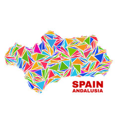 Andalusia province map - mosaic of color triangles vector