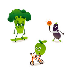 apple broccoli eggplant sport character set vector image