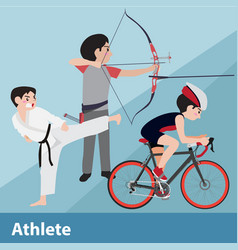 Athletic sport cartoon set vector