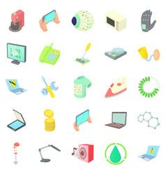 autonomy icons set cartoon style vector image