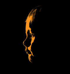 Baby face silhouette in contrast backlight vector