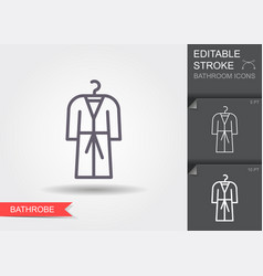 bathrobe line icon with editable stroke vector image