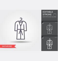 bathrobe line icon with editable stroke with vector image