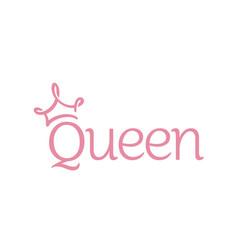 Beauty queen crown lettering logotype logo vector