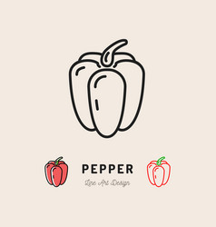 Bell pepper icon vegetables logo thin line vector